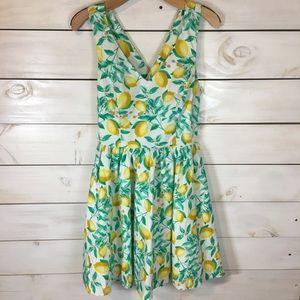 Elle   Lemon Print Criss Cross Back Dress